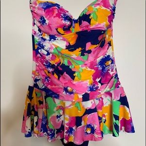 Chaps Watercolor Print Skirted One Piece Sz 8